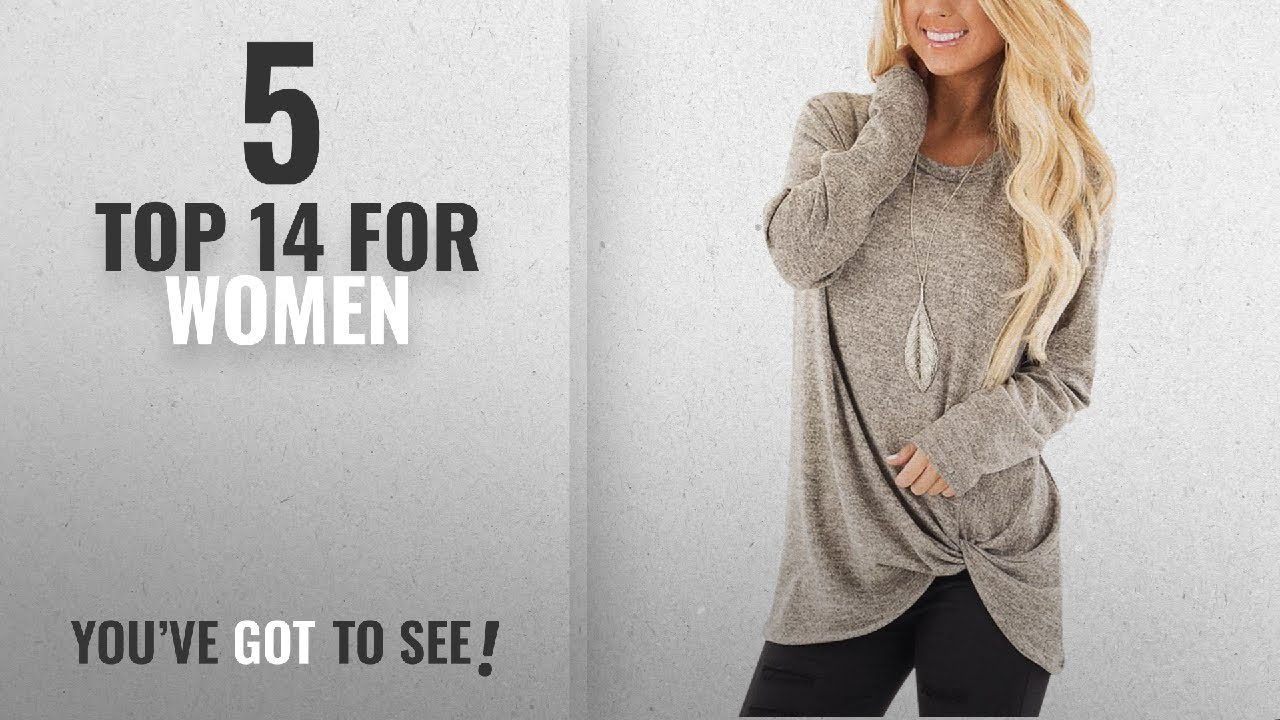 84f73443e1876e Top 10 Top 14 For Women  2018   YOINS Women s Plain Round Neck Long Sleeve  Loose Fit T-Shirts With