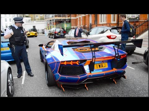 Liberty Walk CHROME TRON Aventador Shooting FLAMES, HUGE REVS, Engine Start Up & Acceleration in Lon