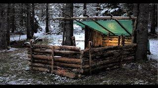 Building a Bushcraft Shelter - Winter Arrives Early -  Episode 3
