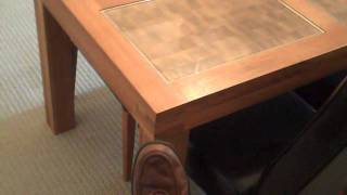 Solid Wood Dining Room Table And Leather Chairs