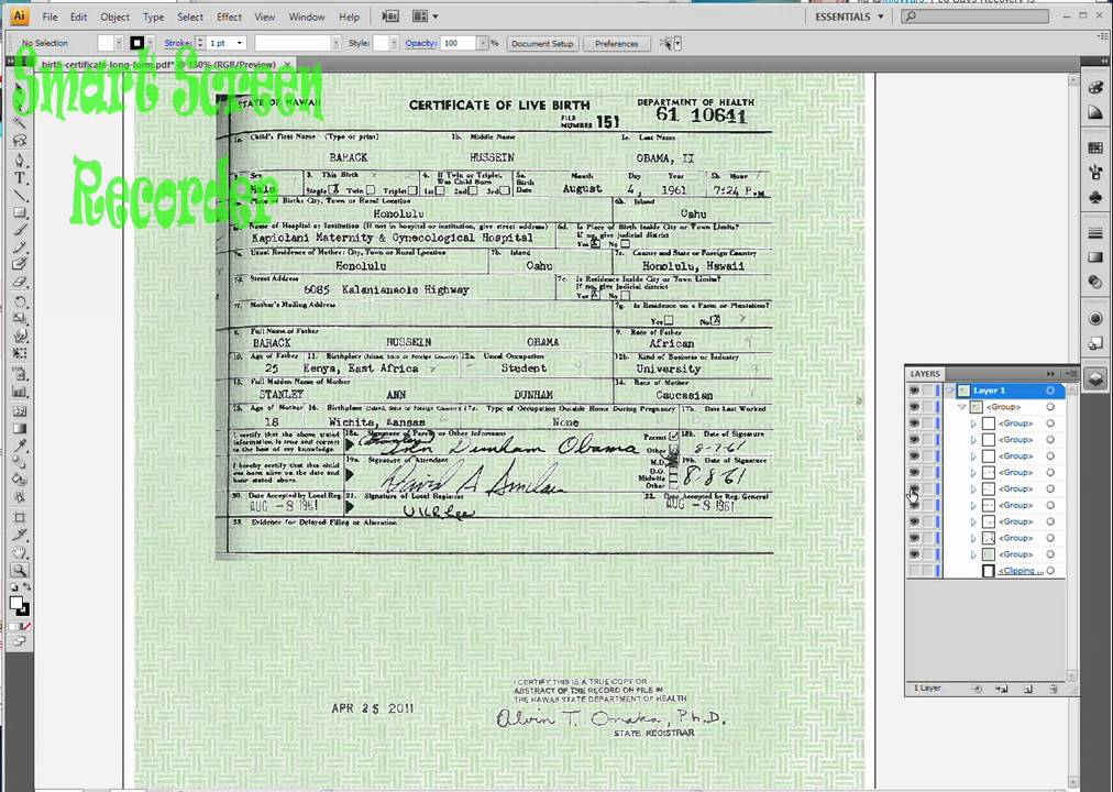 President Obamas Birth Certificate Pdf Has Layers Youtube