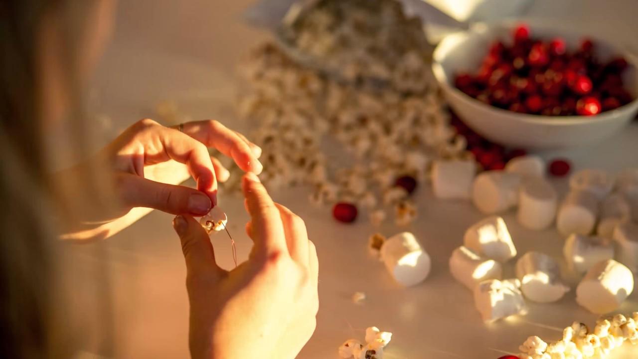 diy cranberry popcorn christmas garland