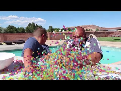 Giant Orbeez Balloon Project What's Inside in Hot Tub! What Happens?!