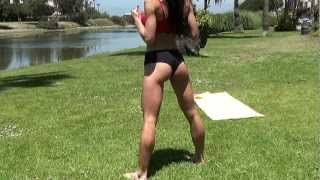Sexy Fitness Models Workout at park. v16