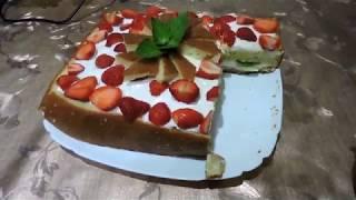 Вкусный торт с клубникой и киви/ Delicious cake with strawberries and kiwi