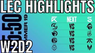 LEC Highlights ALL GAMES Week 2 Day 2 Summer 2019 League of Legends EULCS