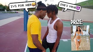 This HOOD TRASH TALKER wants my Girlfriend... so we 1v1'd for HER! 1V1 BASKETBALL GONE BAD