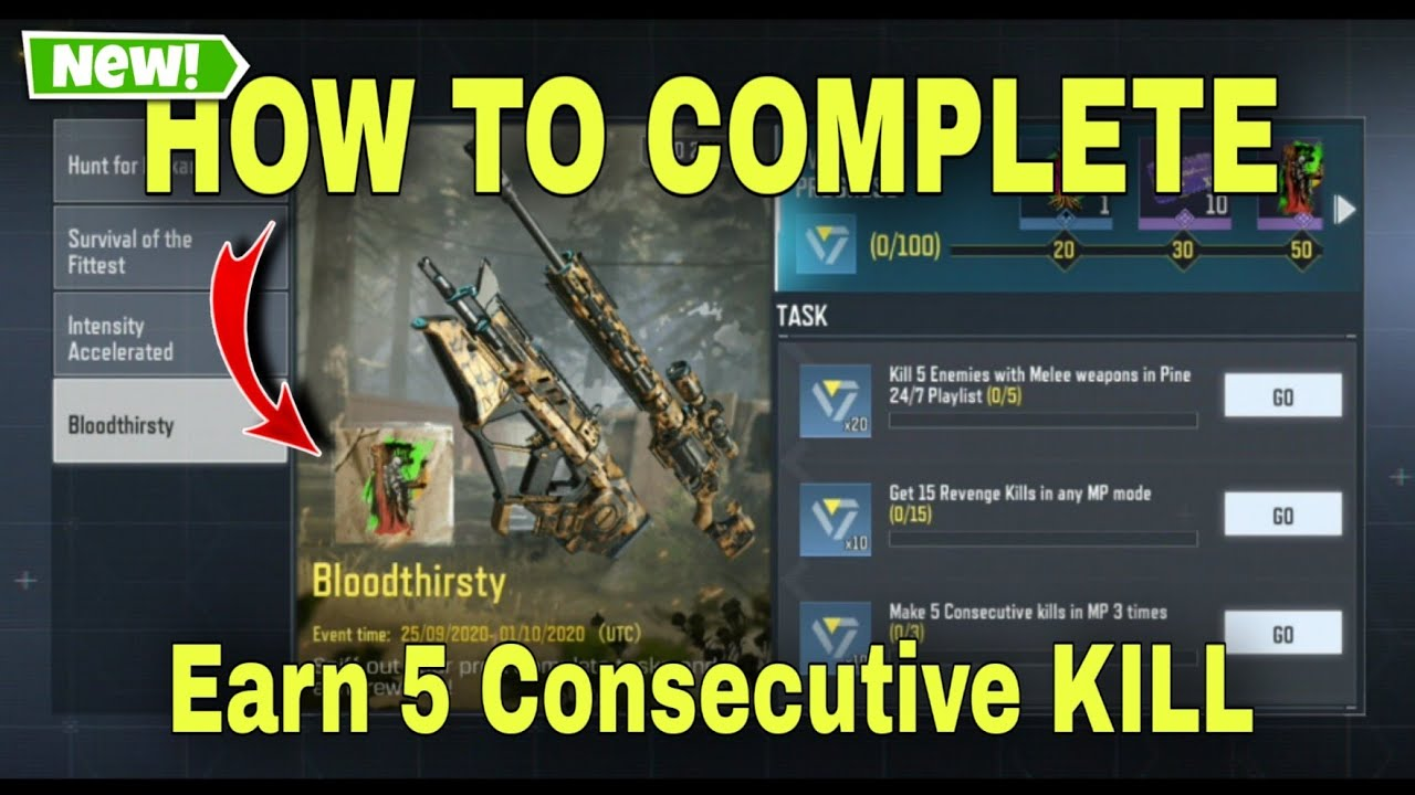 How To Complete New Bloodthirsty Featured Events Cod Mobile Make 5 Consecutive Kill Youtube
