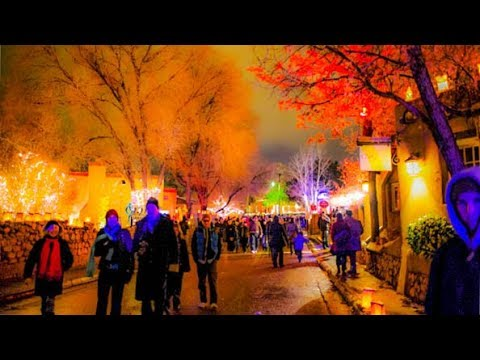 A Walk Up Canyon Road Street Party On Christmas Eve In Santa Fe Nm Youtube