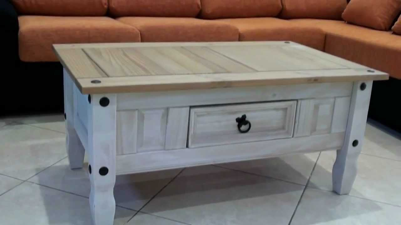 Mesa centro r stica madera maciza 2718 youtube for Mesas para bar rusticas