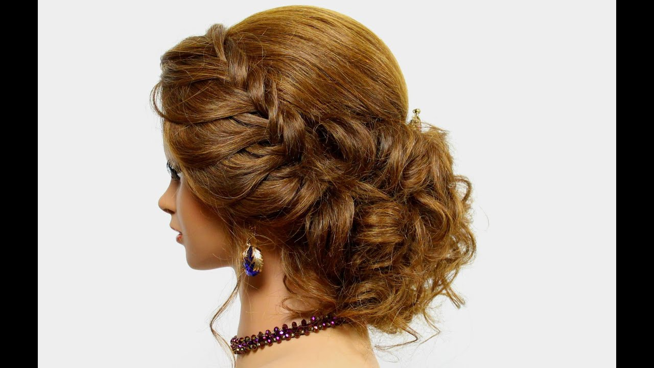 Multi Texture Crimped And Curled Prom Updo For Long Hair