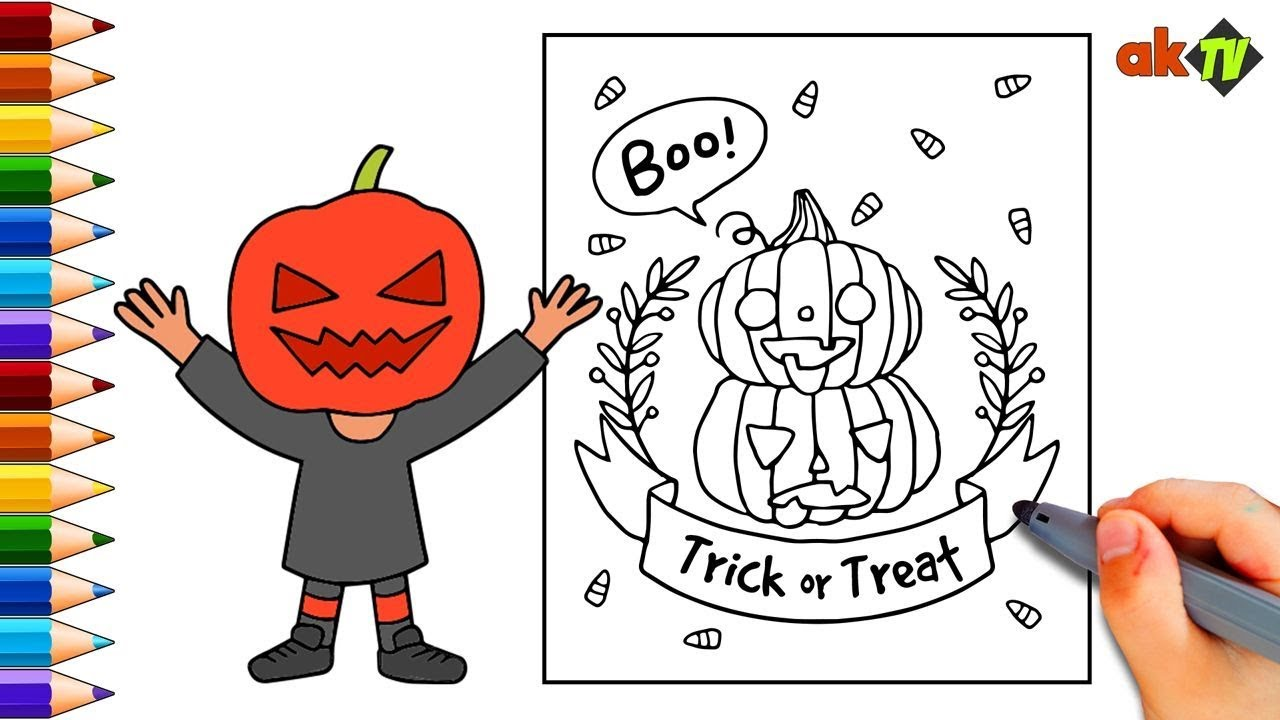 Halloween Greeting Cards Draw And Color A Halloween Card For Kids