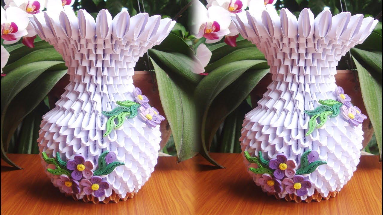 How To Make 3d Origami Flower Vase V9 C 243 Mo Hacer Florero De Origami 3d Youtube