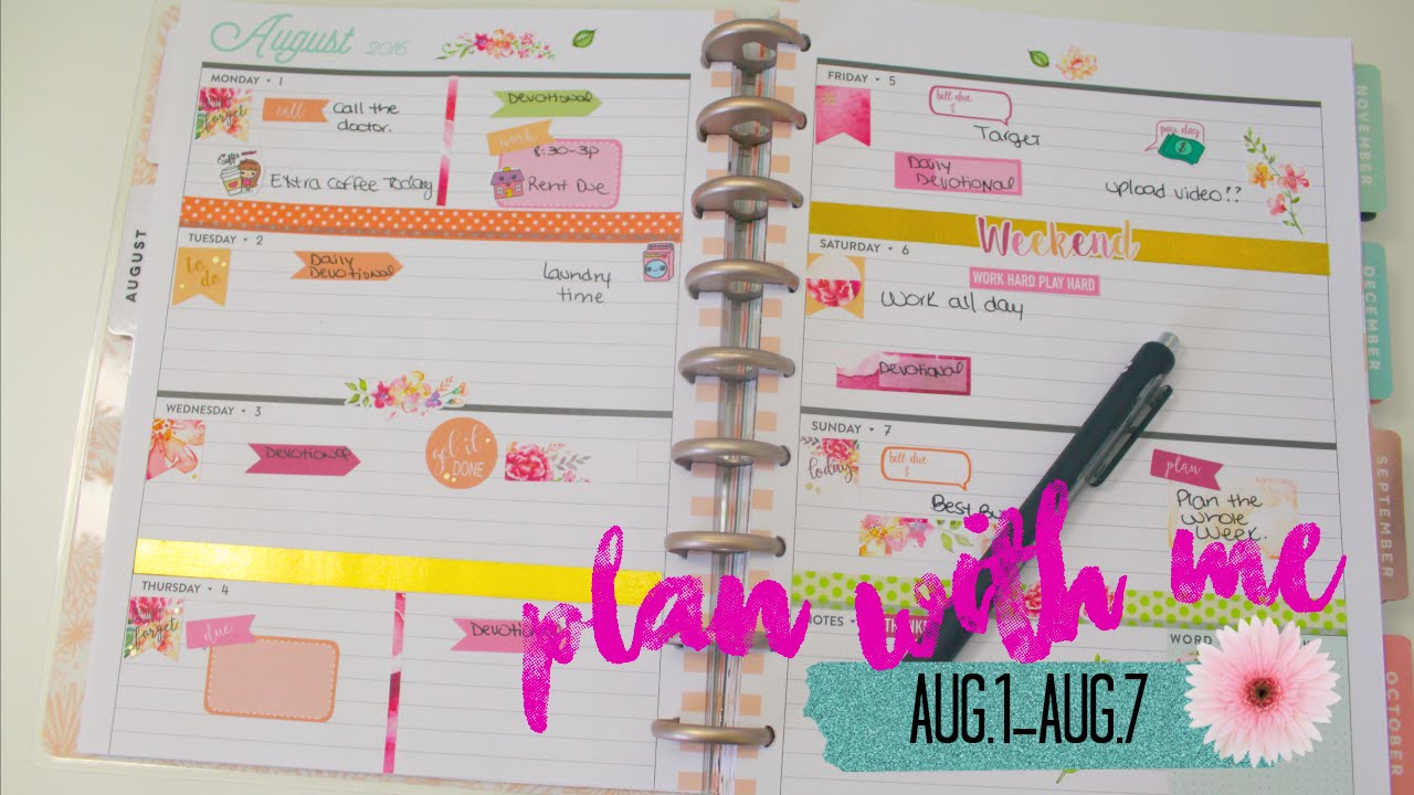 Plan with me| The Happy Planner|Horizontal layout