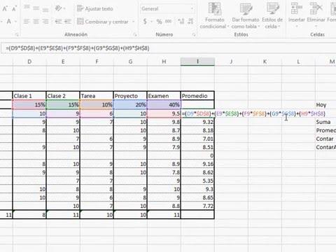 Video 10: Fórmulas con ponderaciones _ Microsoft Excel