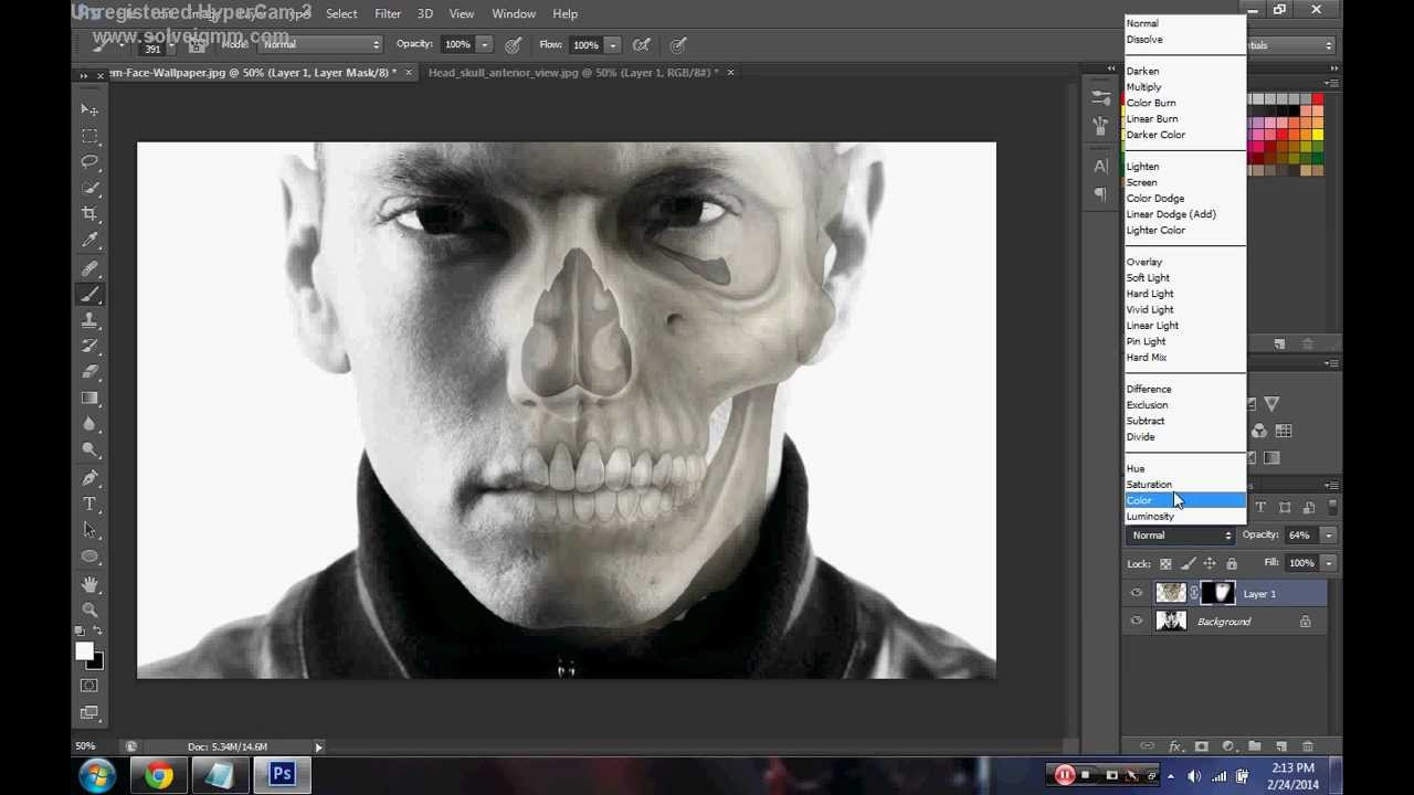 Photoshop CS6 Tutorial ~ Half Human Half Skull - YouTube