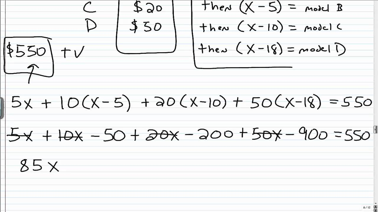 algebra help solving money word problems  algebra 1 help solving money word problems 2 2