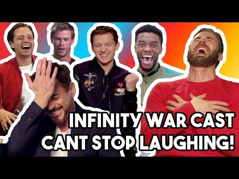 AVENGERS INFINITY WAR CAST LAUGHING LIKE IDIOTS