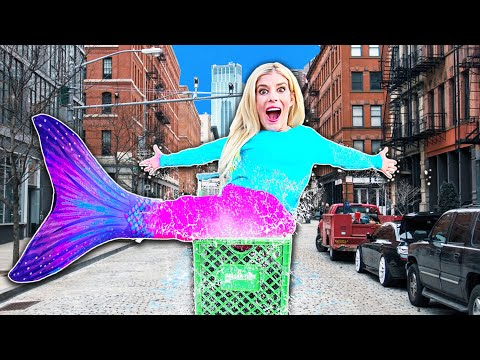 Becoming a MERMAID in PUBLIC For A Day! (WORST Game Master 24 Hour Challenge) | Rebecca Zamolo
