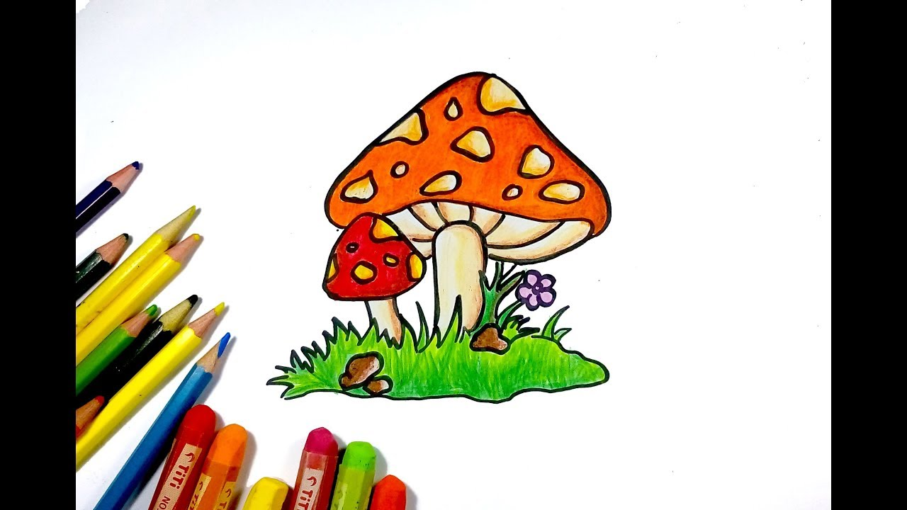 How to draw mushroom for kid easy drawing tutorial