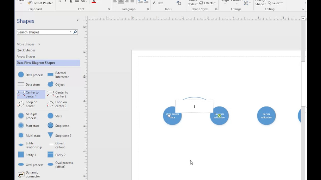 quick data flow diagram in visio 2016