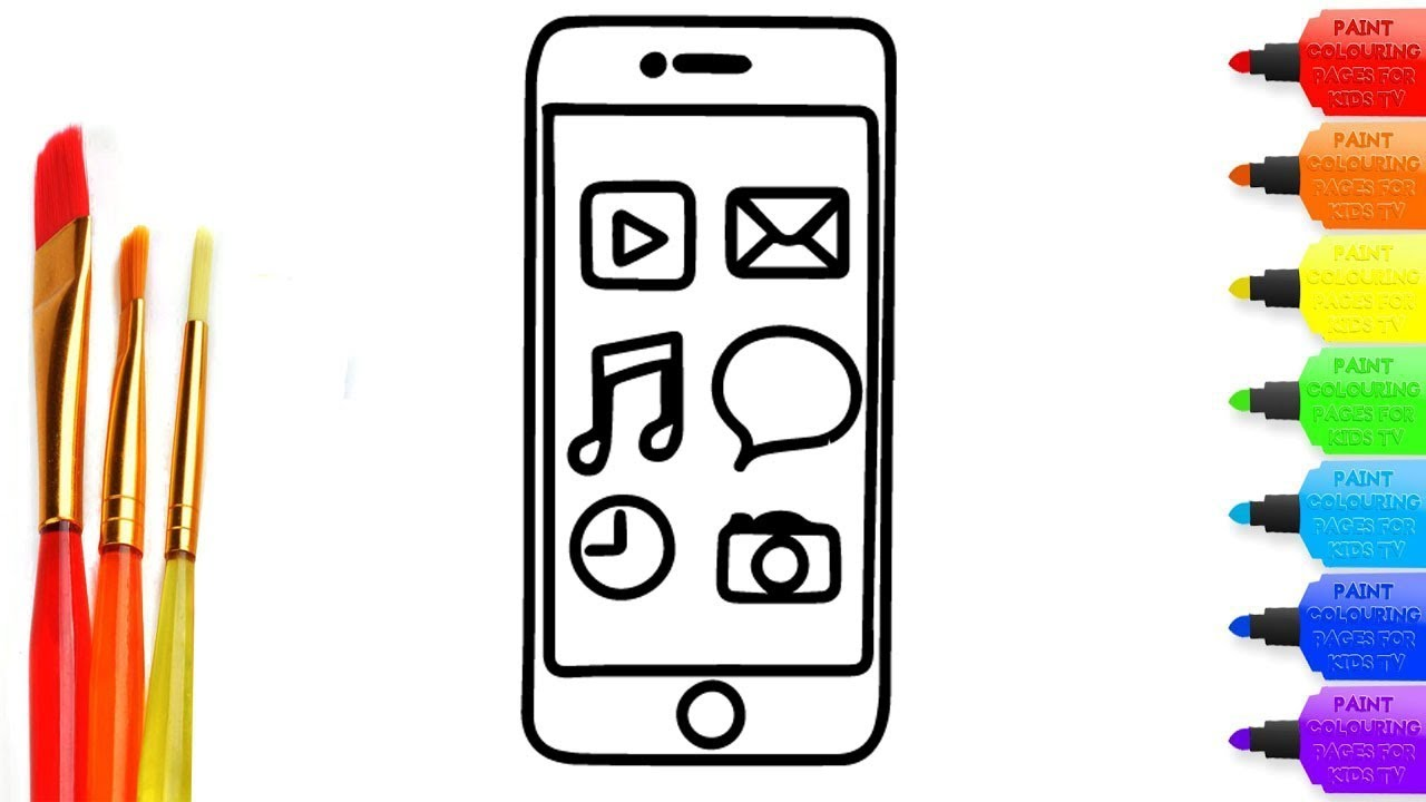 How To Draw Iphone 7 Coloring Page For Kids I Learn Coloring Book