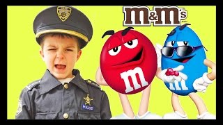 Sketchy Mechanic and his secret M&Ms! Steals toys from funny kid police a kid channel silly video!