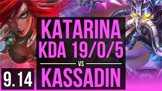 KATARINA vs KASSADIN (MID) | KDA 19/0/5, 1.3M mastery points, 1100+ games | BR Grandmaster | v9.14