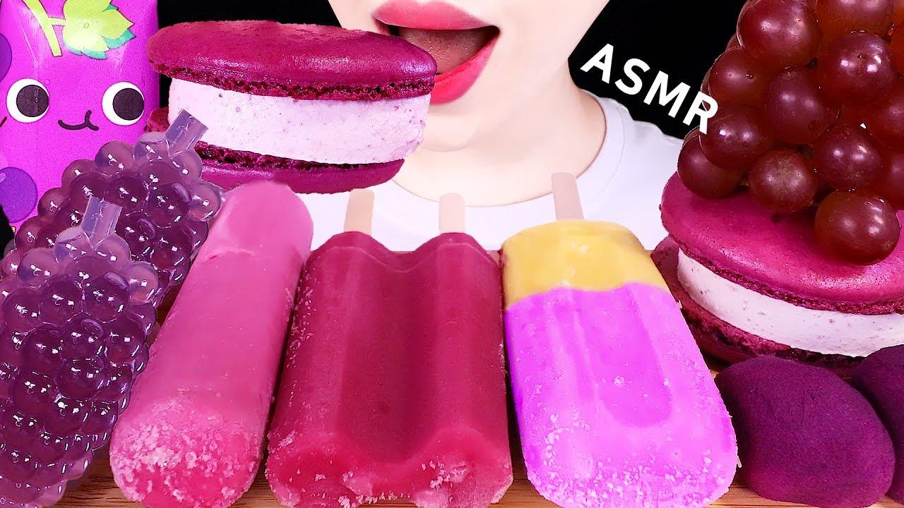 ASMR PURPLE FOOD, ICE CREAM, RICE CAKE, MACARON, TikToK JELLY 보라색 디저트 먹방 EATING SOUNDS MUKBANG