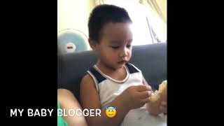 My Baby Blogger Eating Pandesal