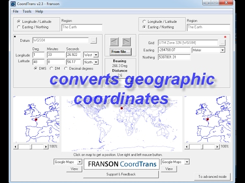 converts geographic coordinates using CoordTrans
