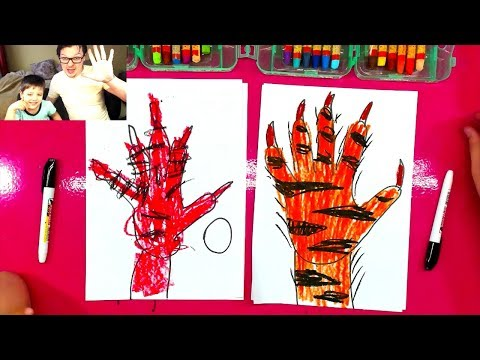 How To Draw A Tiger Paw With Claws From Your Hand / Handprint