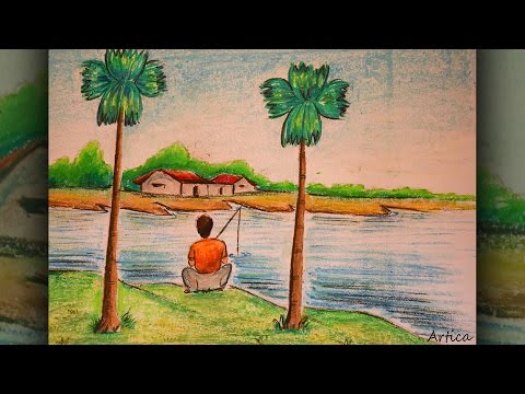 How to Draw A Riverside Landscape with Oil Pastels