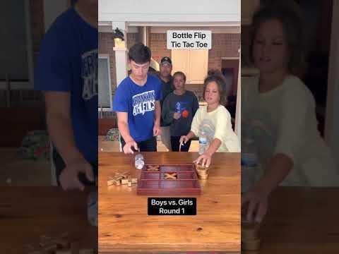 Boys vs. girls!! Bottle Flip Tic Tac Toe!! 😂😂WATCH UNTIL THE END!!😂😂 - Klem Family