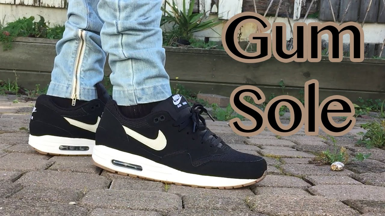 0e9f52f08d ... where can i buy air max 1 essential black gum sole on feet close up  looks