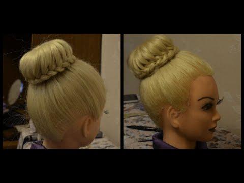 Зачіска за допомогою валика Бублик на довге волосся.