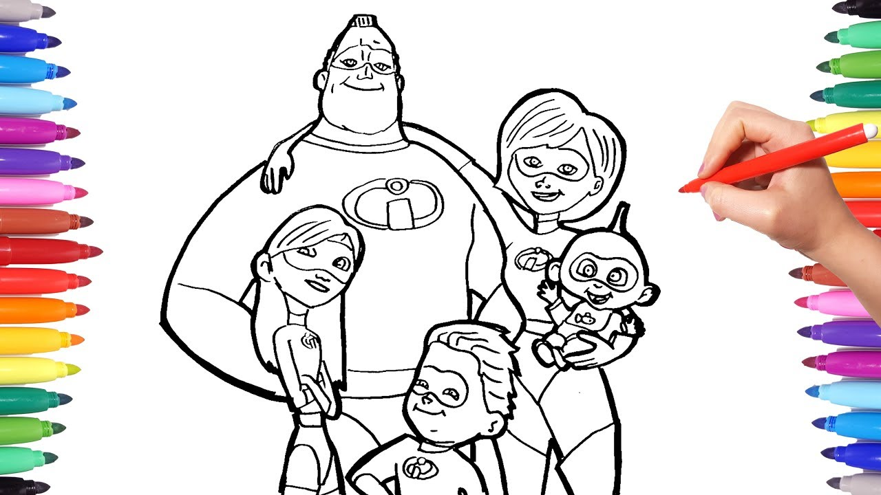 Incredibles 2 Coloring Pages Coloring Mr Incredible Elastigirl Violet Flash Jack The Incredibles Youtube