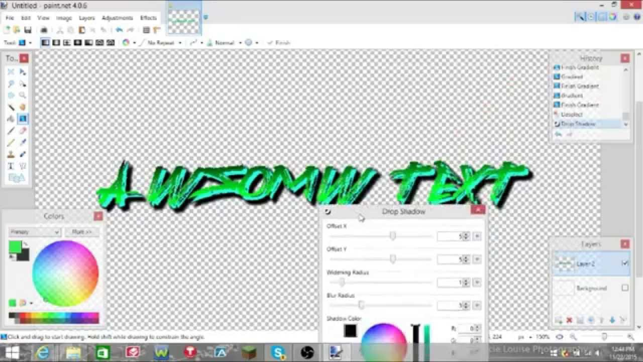 paint.net how to make a text transparent