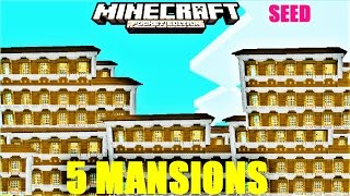 5 WOODLAND MANSIONS in 1 SEED ! DESERT TEMPLE & WITH HUT  | MINECRAFT PE  1.1 UPDATE