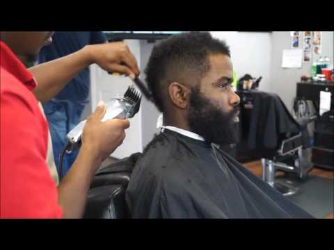 b Over Skin Fade with Hard Part