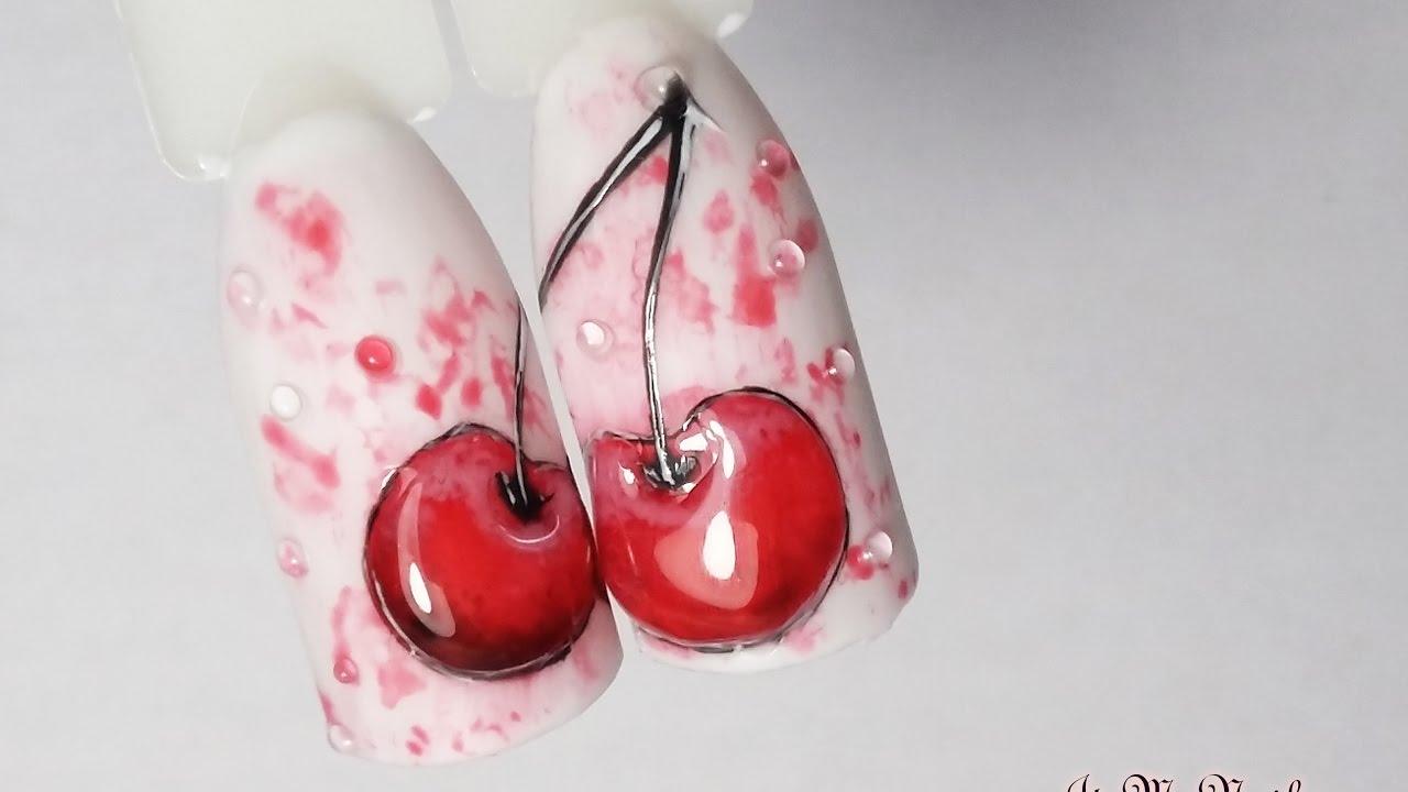 Дизайн ногтей с вишней