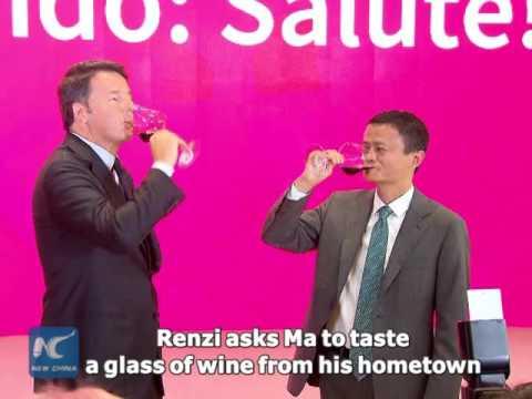 Italian Prime Minister Matteo Renzi tastes wine with Jack Ma