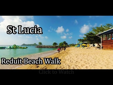 St Lucia Island 2017 - Walking on Reduit Beach 4K