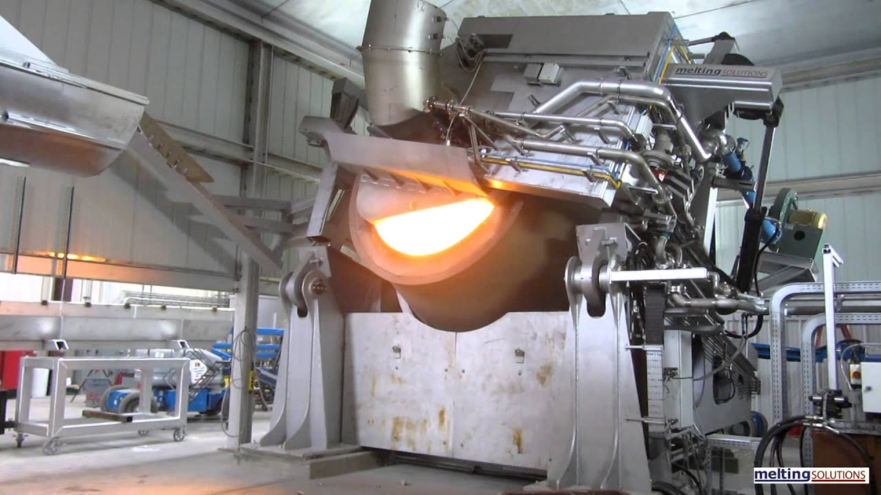 Tilting Rotary Furnace with Bucket Charger - YouTube