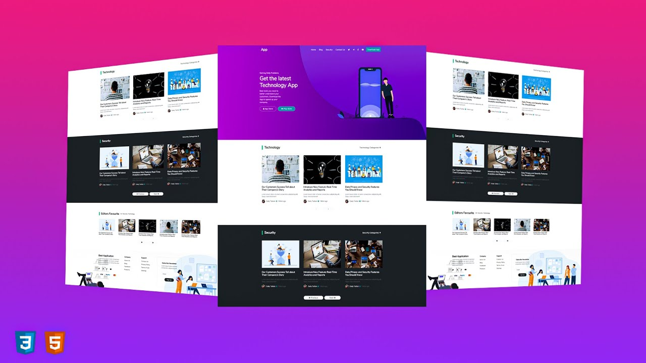 Complete Responsive App Website Design with HTML & Bootstrap