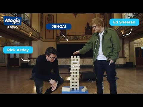 ED SHEERAN VS RICK ASTLEY! Who will topple the Jenga tower?