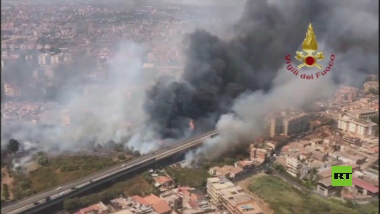 حرائق جزيرة صقلية الإيطالية تجبر السلطات على إجلاء سكانها