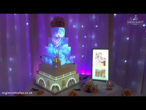 Disney Inspired Projection Wedding Cake by Angie Scott Cakes