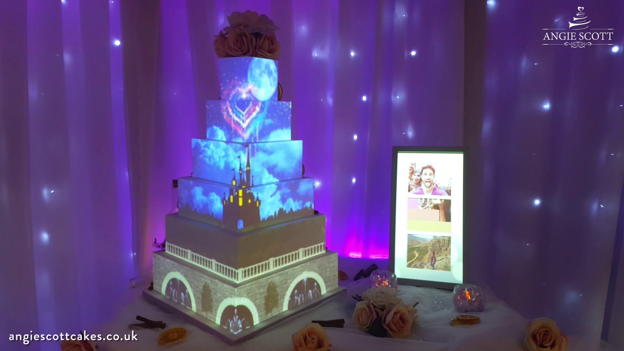 Disney Wedding Cake Projection Mapped by Angie Scott Cakes   YouTube Disney Wedding Cake Projection Mapped by Angie Scott Cakes