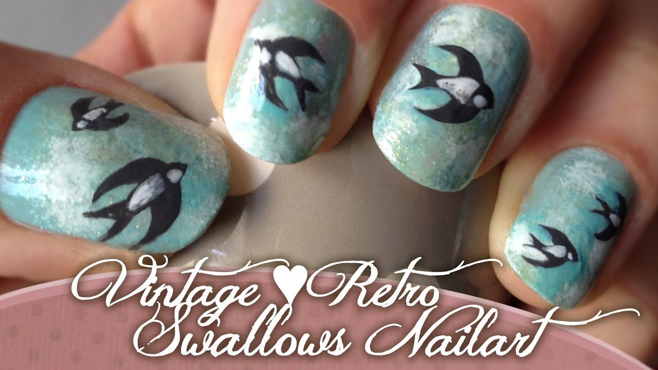 Vintage Retro Swallow Nailart ♥ Entry for Arcadianailart\'s Vintage ...